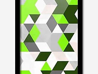 Los Quadros Quadro Decorativo Geométrico Cinza Verde 45 x 33 cm Los Quadros Preto