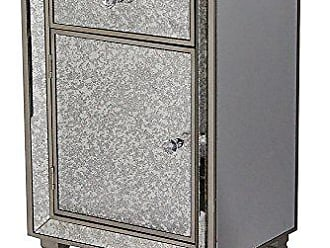 Heather Ann Creations Eleganza Series Formal Mirror Trimmed Tall 1 Drawer 1 Door Cabinet, Champagne
