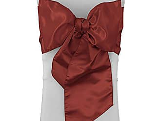 LA Linen Pack-10 Bridal Satin Chair Bows Sashes 8 by 108-Inch, Burgundy