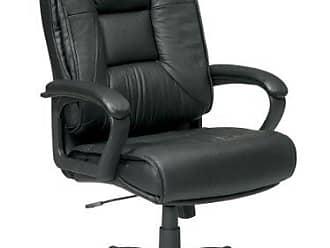 Office Star High Back Executive Leather Chair with Padded Loop Arms, Black