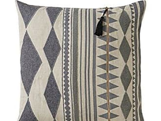 Jaipur Tribal Pattern Gray/Ivory Linen Poly Filled Pillow (22x22)