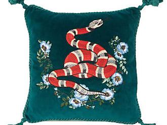 Gucci Kingsnake Embroidered Velvet Cushion - Green Multi