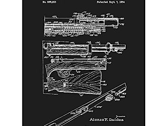 Inked and Screened SP_Milt_688,203_BL_24_W Folding Light Automatic Rifle-A. Gaidos-1954 Print, 18 x 24 Black Licorice - White Ink
