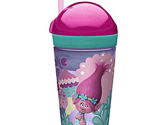 Zak designs Trolls ZakSnak All-In-One Drink Tumbler + Snack Container For Toddlers - Spill-proof 4oz Snack Container Screws Securely Onto 10oz Tumbler With Accessible Straw, Trolls Movie