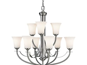 Feiss F2253/6+3BS Barrington 2-Tier 9-Light Chandelier in Brushed Steel finish with Opal Etched Glass