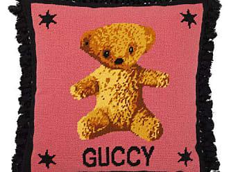 Gucci Teddy Bear Embroidered Wool Cushion - Pink Multi