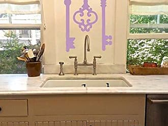 The Decal Guru Antique Skeleton Keys Wall Home Decor Stickers - Vintage Design Removable Vinyl Room Wall Art [Set of 3] (Lilac, 45x46 inches)
