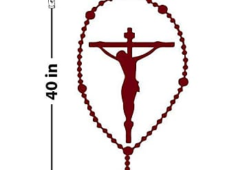 The Decal Guru Rosary Crucifix Wall Decal (Burgundy, 40 (H) X 20 (W))
