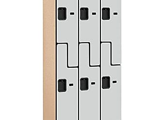 Salsbury Industries 2-Tier S-Style Designer Wood Locker with Three Wide Storage Units, 6-Feet High by 18-Inch Deep, Gray