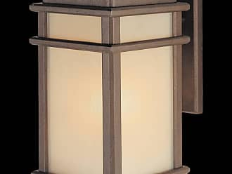 Feiss OL3401CB Mission Lodge Wall Mount Lantern in Corinthian Bronze finish with Amber ribbed glass