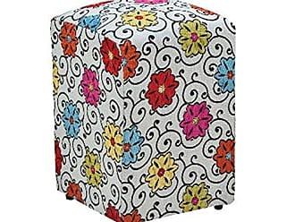 Nay Multicoisas Puff Decorativo Suede Floral Dohler