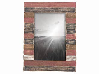 Foreside Home And Garden 4X6 Slatted Wood Photo Frame Red Gray