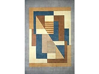 Momeni Rugs NEWWANW-06BLU5380 New Wave Collection, 100% Wool Hand Carved & Tufted Contemporary Area Rug, 53 x 8, Blue