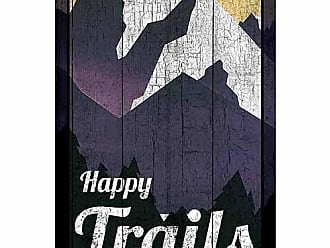 EAZL Happy Trails Mountain Vector Silhouette Lake Lodge Distressed Wood Grain Inspirational Painting Black & Purple Canvas Art by Pied Piper Creative
