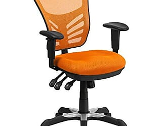 Flash Furniture Mid-Back Orange Mesh Chair with Triple Paddle Control [HL-0001-OR-GG]