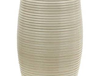 Oriental Furniture 18 Beige Ribbed Porcelain Garden Stool