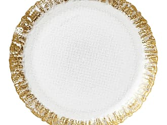 Vietri Rufolo Glass Salad Plate, Gold