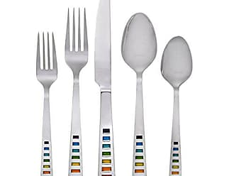Fiesta 641020R Celebration 20-Piece Flatware Silverware Set, Service for 4, Stainless Steel, Includes Forks/Knife/Spoons