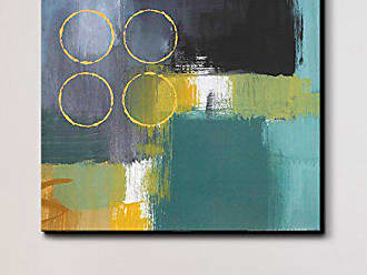 Ready2HangArt Abstract ABS Canvas Wall Art, 30 High x 30 Wide x 1 to 2 Deep, Yellow/Green/Teal/Gray/White