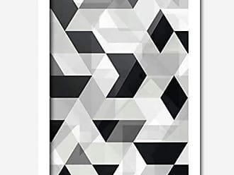 Los Quadros Quadro Decorativo Geométrico Preto Branco Mod 145 x 33 cm Los Quadros Branco