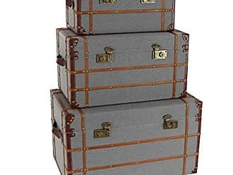 Deco 79 54071 Burlap, Leather and Wood Trunks (Set of 3), 19 x 23 x 27, Brown/Gray
