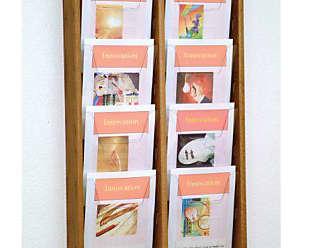 Wooden Mallet 8-Pocket Stance Wall Display, Medium Oak