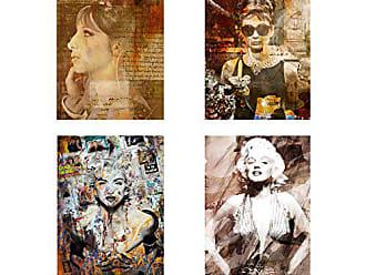 Ready2HangArt Abstract Divas 4 Piece Modern Contemporary Canvas Wall Art Print Set, Panel: 12 x 24, Grey