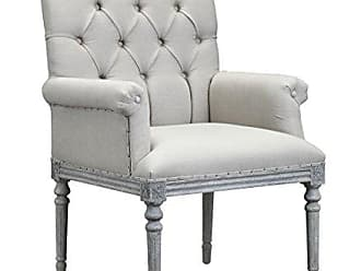 Boraam Burnham Home 11709 Keegan Arm Chair, White Washed Oak & Light Cream Linen