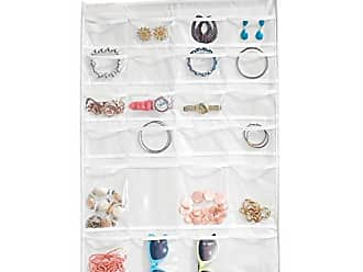 InterDesign Non-Woven Fabric Hanging Jewelry and Accessory Storage Organizer with Multiple Compartments - White