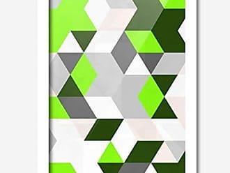Los Quadros Quadro Decorativo Geométrico Cinza Verde 45 x 33 cm Los Quadros Branco