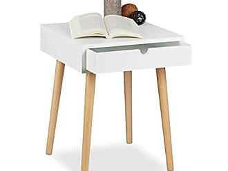 Relaxdays Nachttisch ARVID Mit Schublade, Nachtkommode, Holz, Beine Natur,  Nachtschrank Im Nordischen