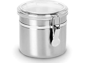 Anchor Hocking Round Stainless Steel Canister with Clear Acrylic Lid and Locking Clamp, 38 oz (Set of 4)