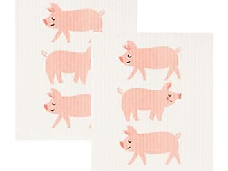 Now Designs 2000054aa Swedish Dishcloths, Set of 2, Penny Pig