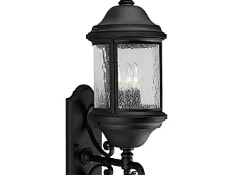 PROGRESS P5652-31 Three-light wall lantern in Textured Black finish with water seeded glass