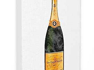 Stupell Industries The Stupell Home Décor Collection Watercolor Minimal Champagne Bottle in Orange Stretched Canvas Wall Art, Multi-Color