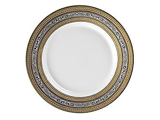 10 Strawberry Street Elegance 9.125 Luncheon Plate, Set of 6, Platinum & Gold Banded