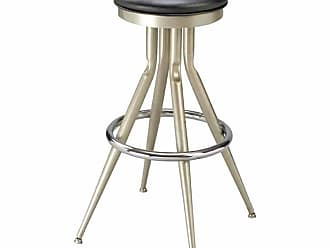 Regal Flair Leg 30 in. Backless Metal Bar Stool with Upholstered Seat Black - 1145U-30-ANODIZED NICKEL- BLACK