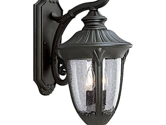 PROGRESS P5822-31 Two-light wall lantern in Textured Black finish with clear seeded glass