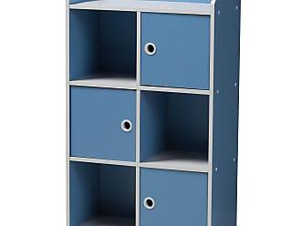 Baxton Studio Aeluin Kids 3 Door Bookcase - Blue/White - BC6-BLUE/WHITE-BOOKCASE
