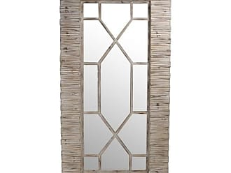 Privilege International Rectangular Wood Wall Mirror with Carved Geometric Overlay - 36W x 71H in