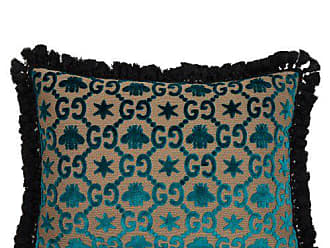 Gucci Gg Jacquard Velvet Cushion - Blue Multi