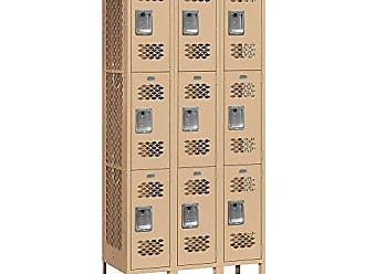 Salsbury Industries Assembled 3-Tier Vented Metal Locker with Three Wide Storage Units, 6-Feet High by 12-Inch Deep, Tan