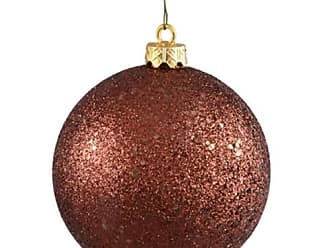 Queens of Christmas WL-ORN-BLKG-70-BR-W 70mm Glitter Brown Ball Ornament with Wire (Pack of 12)