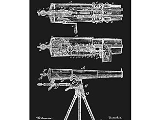 Inked and Screened SP_Milt_479,799_BL_17_W Machine Gun-F. Garland et al-1892 Print, 11 x 17 11 x 17 Black Licorice - White Ink