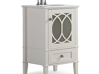 Simpli Home Paige 20 inch Bath Vanity in Off White with White Engineered Quartz Marble Top