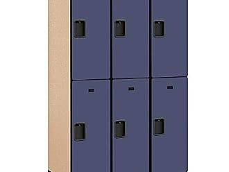 Salsbury Industries 2-Tier Extra Wide Designer Wood Locker with Three Wide Storage Units, 6-Feet High by 21-Inch Deep, Blue