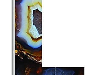 Stupell Industries Stupell Home Décor Amber and Blue Geode Slice L 18 Inch Oversized Hanging Initial, 12 x 0.5 x 18, Proudly Made in USA