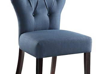Office Star AVE SIX Andrew Upholstered Armless Accent Chair with Wood Legs, Klein Azure
