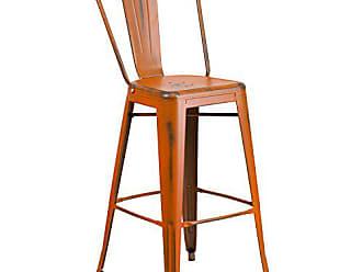Flash Furniture 30 High Distressed Orange Metal Indoor-Outdoor Barstool with Back