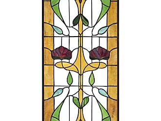 Design Toscano Stained Glass Panel - Ruskin Rose Two Flower Stained Glass Window Hangings - Window Treatments